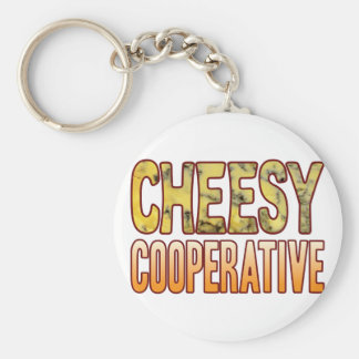 Cooperative Blue Cheesy Basic Round Button Key Ring