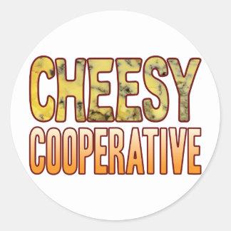 Cooperative Blue Cheesy Classic Round Sticker