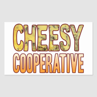 Cooperative Blue Cheesy Rectangular Sticker