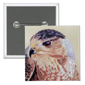Coopers Hawk Portrait 15 Cm Square Badge