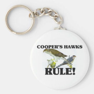 COOPER'S HAWKS Rule! Basic Round Button Key Ring