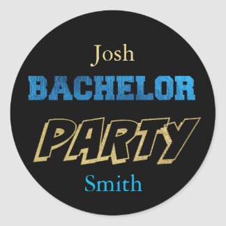 Coordinating Gold/Black BACHELOR PARTY STICKERS