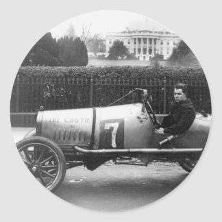Cootie Race Car Vintage White House Photo Round Sticker