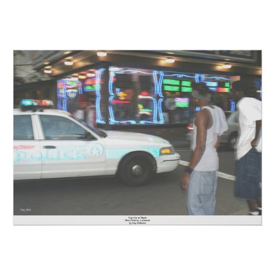 Cop Car at Night, New Orleans, Louisiana Poster