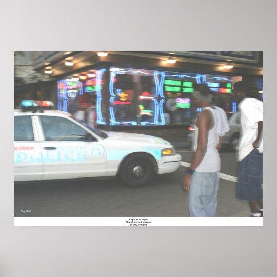 Cop Car at Night, New Orleans, Louisiana Poster