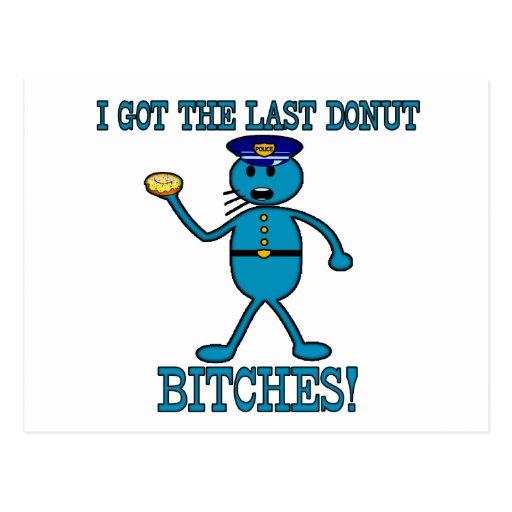 Cop Has Last Donut Postcard
