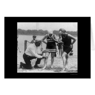 Cop Measuring Swimsuit Length 1922 Card