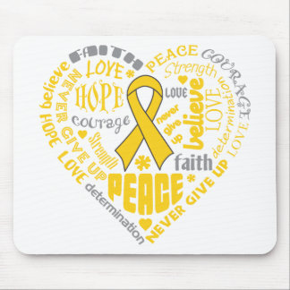 COPD Awareness Heart Words Gold Mouse Pads