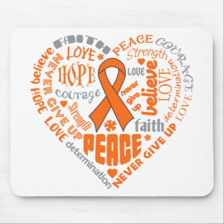 COPD Awareness Heart Words (orange) Mouse Pads