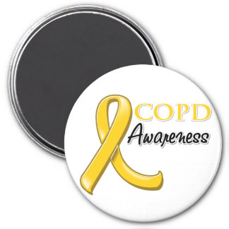 COPD Awareness Ribbon (gold ribbon) 7.5 Cm Round Magnet