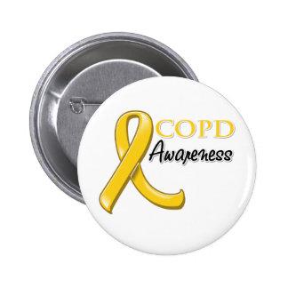 COPD Awareness Ribbon (gold ribbon) 6 Cm Round Badge