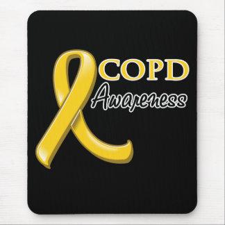 COPD Awareness Ribbon (gold ribbon) Mouse Pad