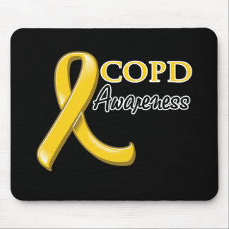 COPD Awareness Ribbon gold ribbon Mouse Pads
