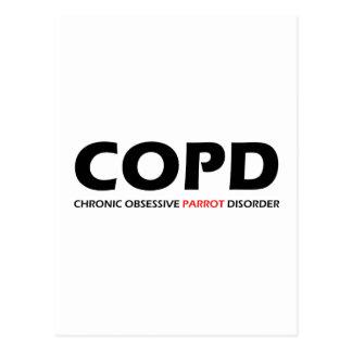 COPD - Chronic Obsessive Parrot Disorder Postcard