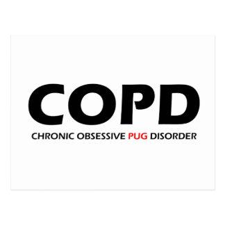 COPD - Chronic Obsessive Pug Disorder Postcard