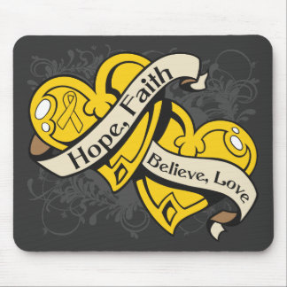 COPD Hope Faith Dual Hearts Mousepad
