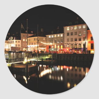 Copenhagen at night classic round sticker