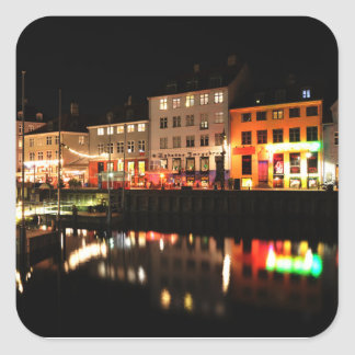 Copenhagen at night square sticker