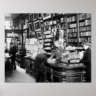 Copenhagen Bookstore, 1899. Vintage Photo Poster