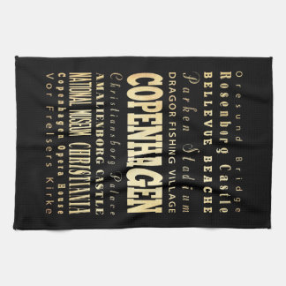 Copenhagen City of Denmark Typography Art Tea Towel