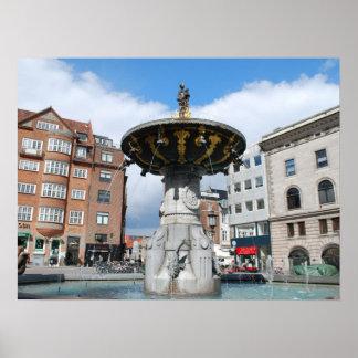 Copenhagen Denmark, Caritas Well Fountain Poster