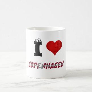 Copenhagen Denmark Heart Danish Flag Typography Coffee Mug