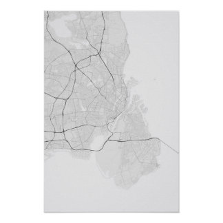 Copenhagen, Denmark Map. (Black on white) Poster