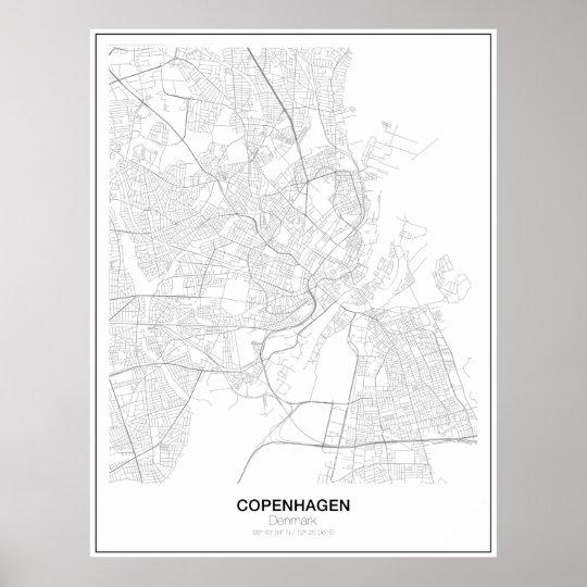 Copenhagen, Denmark Minimalist Map Poster(Style 2) Poster
