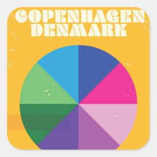 Copenhagen, Denmark vintage travel poster Square Sticker
