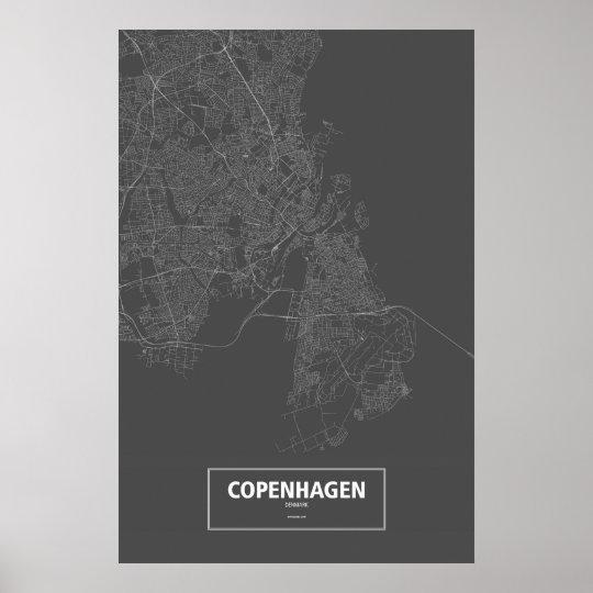 Copenhagen, Denmark (white on black) Poster