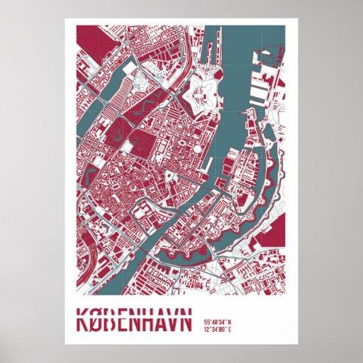 Copenhagen Map RB Poster