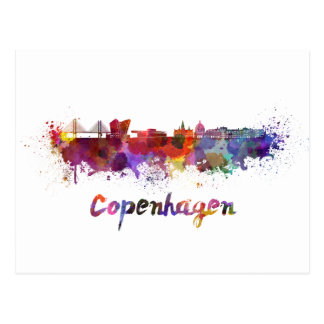 Copenhagen skyline in watercolor postcard