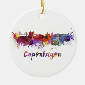 Copenhagen skyline in watercolor round ceramic decoration