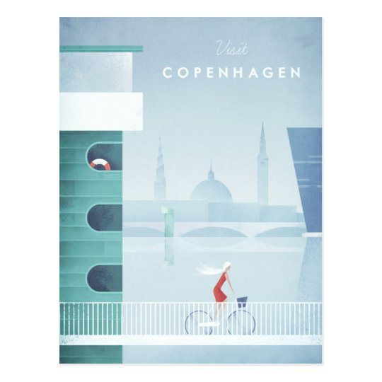 Copenhagen Vintage Travel Poster - Art Postcard