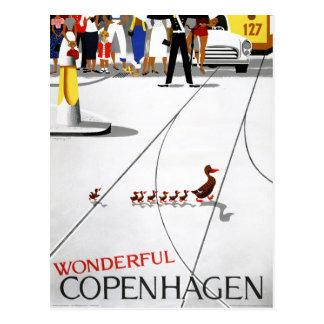 Copenhagen Vintage Travel Poster Restored Postcard