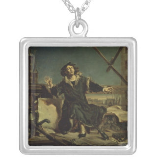Copernicus in the tower at Frombork Silver Plated Necklace