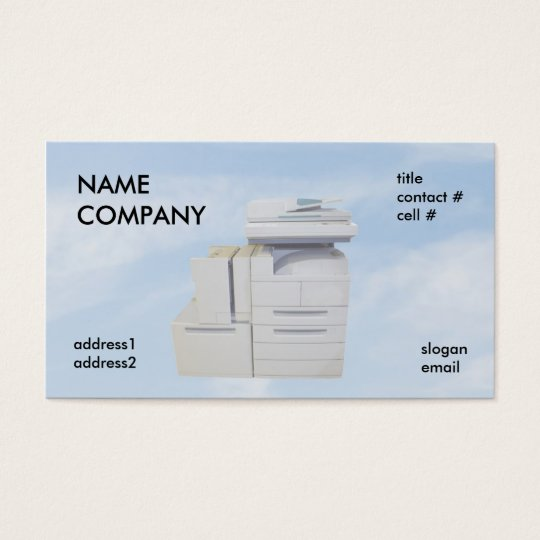 copier on blue clouds business card