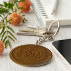 copper american wheat penny keychain