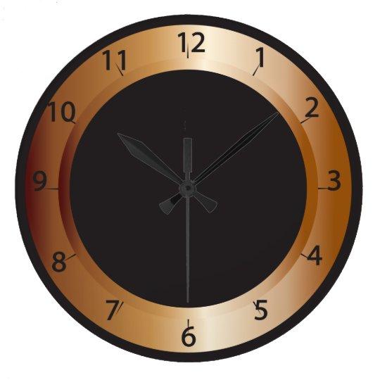 Copper and Black Design Large Clock