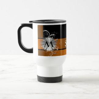 Copper and black monogram travel mug