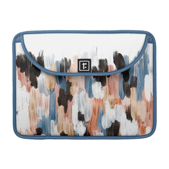 Copper and Blue Brushstrokes Abstract Design Sleeve For