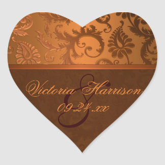 Copper and Brown Damask Heart Shaped Sticker