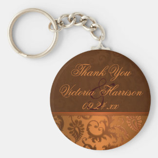 Copper and Brown Damask Wedding Favor Keychain