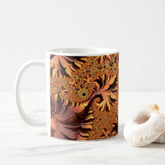 Copper and Gold Autumn Colored Leaves Fractal Art Coffee Mug