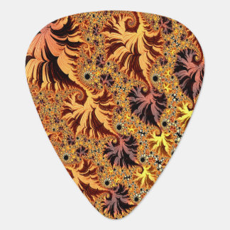 Copper and Gold Autumn Coloured Leaves Fractal Art Guitar Pick