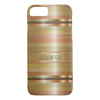 Copper And Gold Print Stripes Pattern iPhone 7 Case