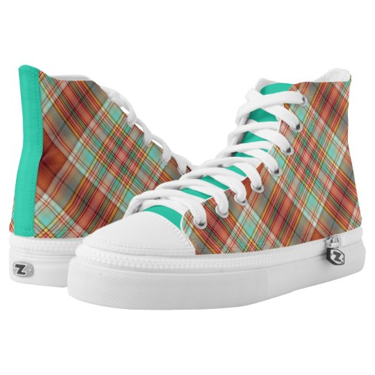 Copper and Green Plaid High Top Sneakers