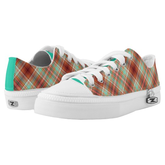 Copper and Green Plaid Low Top Sneakers