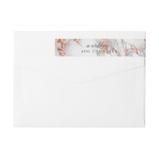 Copper and  Marble Wedding Bold Elegance Wrap Around Label