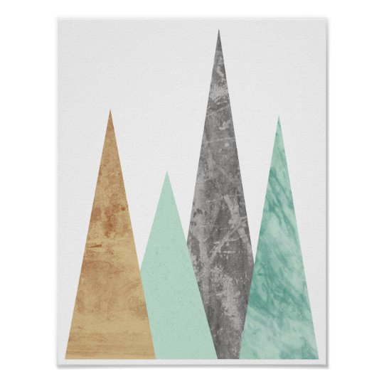 Copper and Mint Mountains. Scandinavian Geometric Poster
